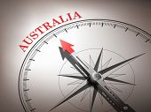 Abstract Compass Needle Pointing The Destination Australia poster