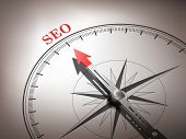 Abstract Compass With Needle Pointing The Word Seo