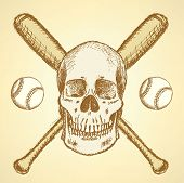 Sketch Baseball Ball, Bat And Scull