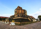 Wat Chedi Luang With Blue Sky And Cloud