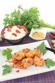 Asian Satay Skewers With Rice And Parsley
