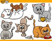 Happy Cats Cartoon Illustration Set