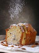 Tasty cake on table on grey background