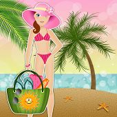 Woman With Beach Bag