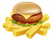Burger And Chips Or French Fries