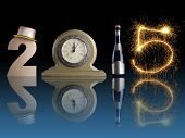 New Year 2015 set up of golden digit two, table clock, bottle of champagne and digit five created fr