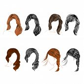 Set Of Four Long  Hair Natural And Silhouette Vector