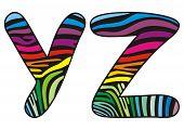 Background Skin Zebra Shaped Letter  Y, Z.eps