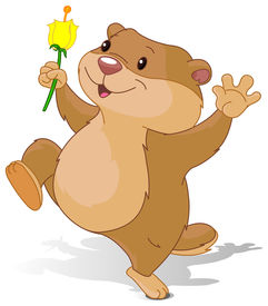 pic of groundhog  - Illustration of Groundhog dancing with first flower for Groundhog Day - JPG