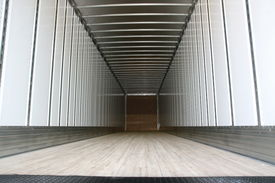 picture of truck-stop  - Big trailer container empty ready to be loaded - JPG