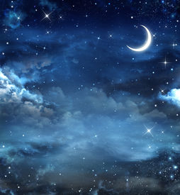 foto of moonlight  - Elegant abstract background of night sky with stars and moon - JPG