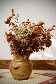 Dried bouquet in pot against the wall, still life, toned
