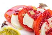 stock photo of antipasto  - Caprese antipasto salad with mozarella cheese - JPG