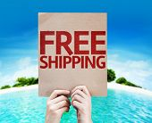 Free Shipping card with a beach background