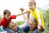 Elderly Couple With Grandchildren