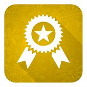 award flat icon, gold christmas button, prize sign