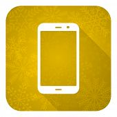 smartphone flat icon, gold christmas button, phone sign