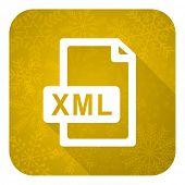 xml file flat icon, gold christmas button