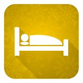 hotel flat icon, gold christmas button, bed sign