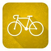 bicycle flat icon, gold christmas button, bike sign