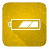 battery flat icon, gold christmas button, charging symbol, power sign