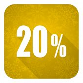20 percent flat icon, gold christmas button, sale sign