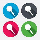 Pushpin sign icon. Pin button.