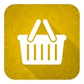 cart flat icon, gold christmas button, shopping cart symbol