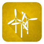windmill flat icon, gold christmas button, renewable energy sign