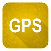 gps flat icon, gold christmas button