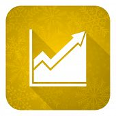 histogram flat icon, gold christmas button, stock sign