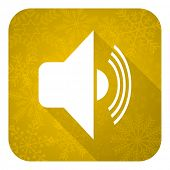 volume flat icon, gold christmas button, music sign