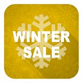 winter sale flat icon, gold christmas button