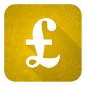 pound flat icon, gold christmas button