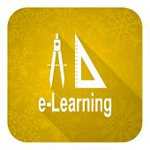learning flat icon, gold christmas button