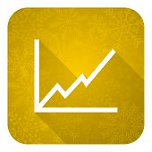 chart flat icon, gold christmas button, stock sign