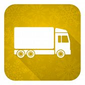 delivery flat icon, gold christmas button, truck sign