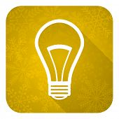 bulb flat icon, gold christmas button, light bulb sign