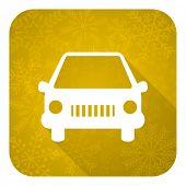 car flat icon, gold christmas button, auto sign