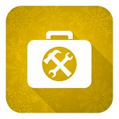 toolkit flat icon, gold christmas button, service sign