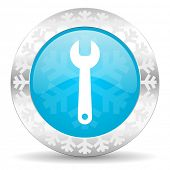 tools icon, christmas button, service sign