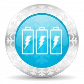 battery icon, christmas button, power sign