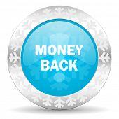 money back icon, christmas button