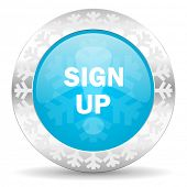 sign up icon, christmas button
