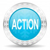 action icon, christmas button