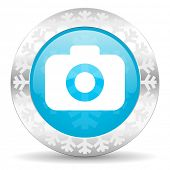 photo camera icon, christmas button, photography sign