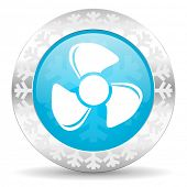 fan icon, christmas button