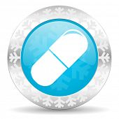 drugs icon, christmas button, medical sign