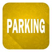 parking flat icon, gold christmas button