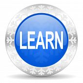 learn blue icon, christmas button